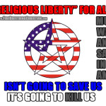 "Christians rally for the ""rights"" of Satanists to worship Satan in America."